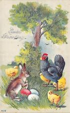 Easter~Brown Rabbit Finds Colored Eggs~Hen & Chicks on Guard~Silver Embossed
