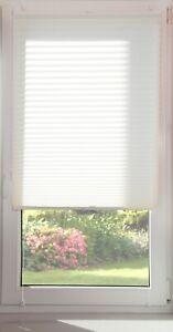 Plissierte Mini Rollos ohne Bohren  Jalousie 62 Größen Farbe Weiß Rollo Klick