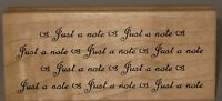 "Great Impressions Rubber Stamp ""Just a note"" Wood Mount 4.25"" x 1.75"""