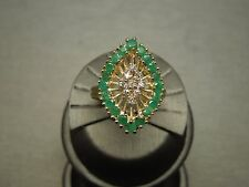 Vintage Estate C1960 14K Gold 1.73TCW Natural Emerald & Diamond Dinner Ring Sz 9