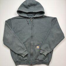 Carharrt Vintage Men Hoodie Sweatshirt Full Zip Green Logo Active Front Size L