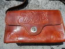 Vintage genuine leather Irish Celtic pattern handbag purse - Quality