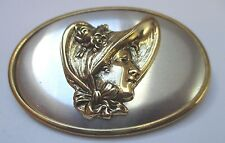 Grande broche bijou vintage couleur or et argent camée unique profil féminin 141