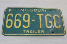 Vintage 1994 Missouri Trailer Single License Plate 669-TGC