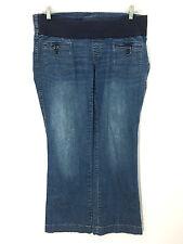Motherhood Maternity Jeans Medium 34 x 31 Flare Leg Belly Band Button Pockets