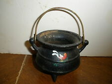 """wrought iron black 3 leg spider pot 3"""" X 2.5"""" with handle hand painted rooster"""