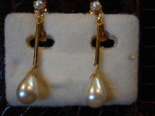 BOUCLES D'OREILLES CLIPS FAUSSE PERLE VINTAGE 80 NEUF/OLD NEW PEARL EARRINGS