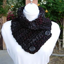 NECK WARMER SCARF Black Red Gray Grey, Handmade Crochet, Striped Buttoned Cowl
