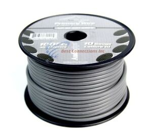 10 Gauge 100 feet Gray Audiopipe Car Audio Home Primary Remote Wire LED