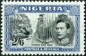 Nigeria 1938-51 KGVI  2/6d Black & Blue  Perf.12   SG.58c Mint (Hinged)