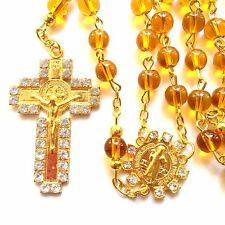 Rosary  brown Glass prayer beads rosary  - CATHOLIC Rosary Crucifix Necklace
