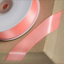 Rosa salmón doble cara cinta de raso 25M Reel Boda Cumpleaños Regalo De Artesanía