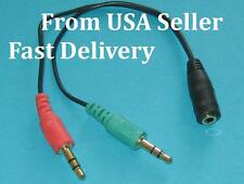 3X 3.5mm Stereo Audio Male to 2 Female Headset Mic Y Splitter BLACKCable Adapter