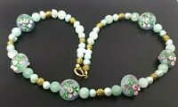 Vintage Natural Jade River pearls Venetian Glass Gold tone Beaded Necklace 22""