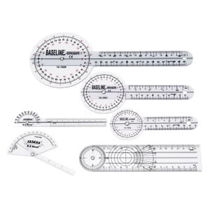 6pcs ~l Spinal Ruler Goniometer Angle Protractor 360 Degree 12/8/