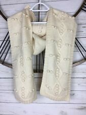 "Lara Kazan Ivory Hooded Scarf Removable Button On Hood Knit 65"" Long Fuzzy"