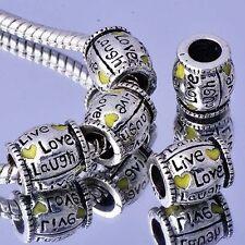 5Pcs Silver Plated Yellow Heart Enamel Spacer Charm Beads For European Bracelet