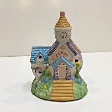 """Easter Porcelain 3 Egg """"School"""" Lighted Building with Light Cord, Used no Box"""