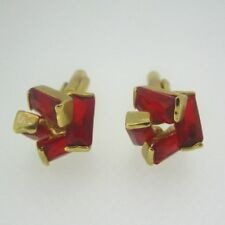Gold Tone Red Stone Fashion  Cufflinks
