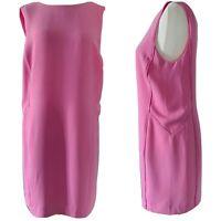 Whistles Pink Shift Dress V-Back Sleeveless Knee Length Tailored Lined Size 12