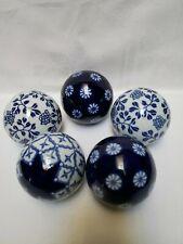 BLUE & WHITE CARPET BALLS ORBS Ceramic PORCELAIN LOT of 5 HOME DECOR