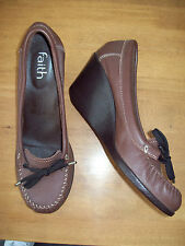 FAITH BROWN LEATHER WEDGE HEEL MOCCASIN LOAFERS SZ UK 6 EXTREMELY GOOD CONDITION