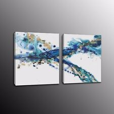 Framed HD Canvas Art Wall Print Abstract Blue Ink Painting for Home Decor 2pcs