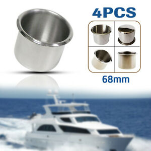 4X Stainless Steel Cup Drink Holders for Marine Boat Car Truck Camper RV Trailer
