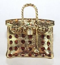Brooch Pin - Purse - Brown Rhinestones - Gold Tone