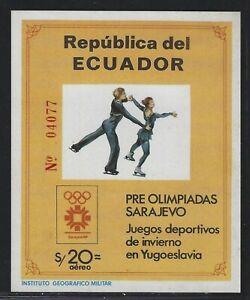 1984 Ecuador Scott #1057A - 20 Sucre Sarajevo Olympic Games Souvenir Sheet - MNH