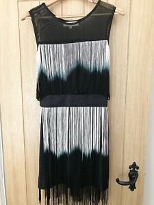 Parisian Collection Black & White Flapper Gatsby Style Tassel Dress, Size S/M