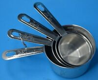 stainless steel 4 piece measuring cups 1, 1/2, 1/3, 1/4 cups