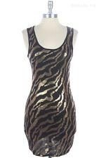 MINI Sleeveless Scoop Neck Front Glitter Sequins TANK Dress S M L