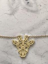 Origami Gold Giraffe Animal Necklace, Geometric Giraffe  Necklace