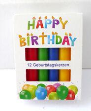 Geburtstagskerzen 12 Stück Wachskerzen Happy Birthday Geburtstagslicht