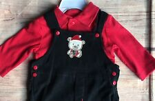 Boys Christmas Outfit Size 3 6 Months Nwt New Black Overalls Red Shirt Bear Set