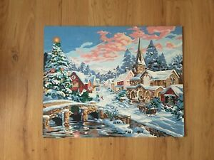 Vintage Paint by Numbers Unfinished PBN Christmas Landscape Snow Winter 16 x 20