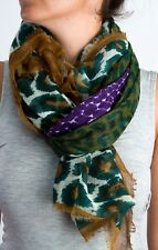 "Tolani 129 Olive Green Purple Wool/Silk Scarf 60"" x 60"""