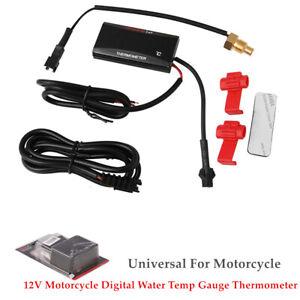 Motorcycle Thermometer Water Temp Gauge Meter Digital Display Sensor Universal