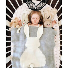 Baby Kids Soft Bunny Knitted Bath Cover Towels Rabbit Knitting Bedding Blanket