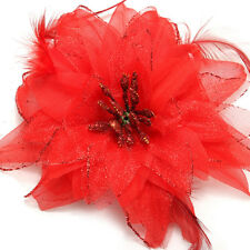 3 Pcs Hair Clip Barrette Flower With Feather for Girl Woman-red H3w9 H3b5