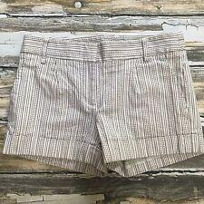 BCBG Max Azria Shorts Womens Size 0 Embroidered Cuffed Cream Brown Summer Stripe