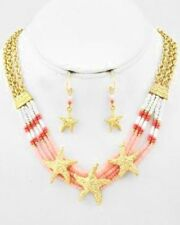 COASTAL Coral & White Gold Chain STARFISH Seed Bead Necklace Earrings Set NWT