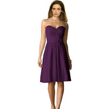 Strapless Short Chiffon Bridesmaid Formal Cocktail Evening Party Dress Purple