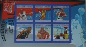 Basketball Jordan Bryant Bird Parker Comores Comoros Mi.2865-70 #CM10211a IMPERF