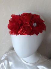 Bright Red Fabric Diamanté Headband Bridesmaid Flower Girls Hair Accessories