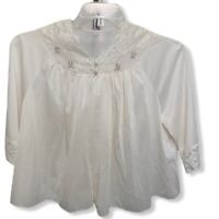 Shadowline Bed Jacket Size Small White Nylon Embroidered Rosebuds Lace Lingerie