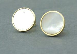 Women Girl  White Seashell Gold Round Titanium Stainless Steel Post Earring Stud