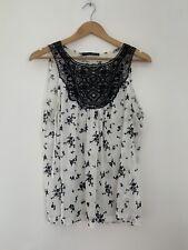 Ladies Blouse Atmosphere 16 White Black Floral Polyester Sleeveless <JS441X