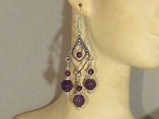 Gemstone Earrings - Purple Amethyst & 925 Sterling Silver - long chandeliers